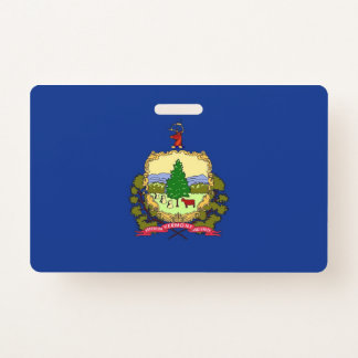 Name Badge with flag of Vermont State, USA