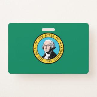 Name Badge with flag of Washington State, USA