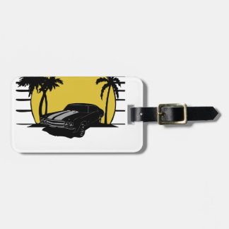(Name) Beach Sunset Surf Vintage Car Customizable Luggage Tag