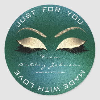 Name Beauty Salon Glitter Deep Green Thank You Classic Round Sticker