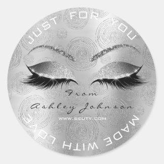 Name Beauty Salon Glitter Silver Gray Thank You Classic Round Sticker