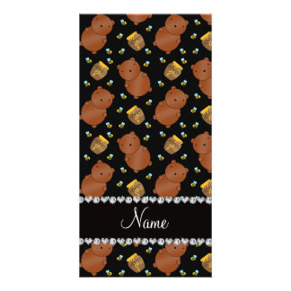 Name black bears honeypots bees pattern customized photo card