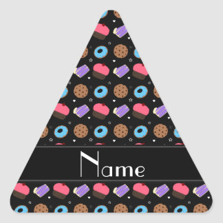 Name black cupcake donuts cake cookies triangle sticker