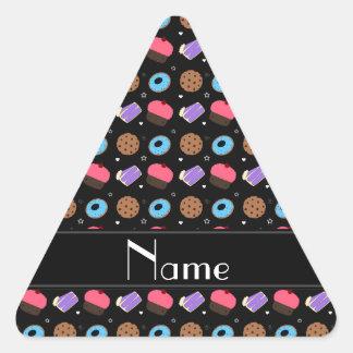 Name black cupcake donuts cake cookies triangle sticker