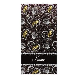 Name black glitter gold seahorses silver seashells photo card template