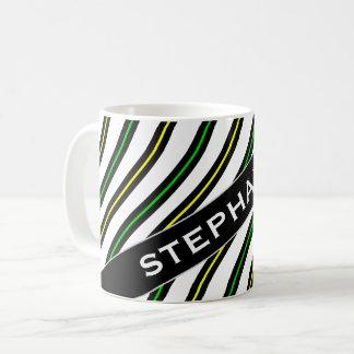 Name + Black, Yellow & Green Wavy Lines Pattern Coffee Mug