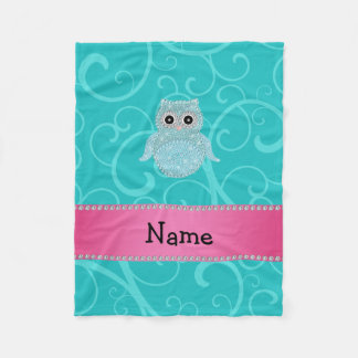 Name bling owl diamonds turquoise swirls fleece blanket