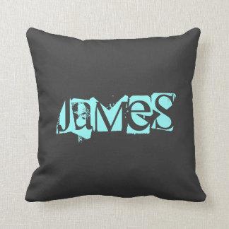 Name,Blue,Black Throw Pillow