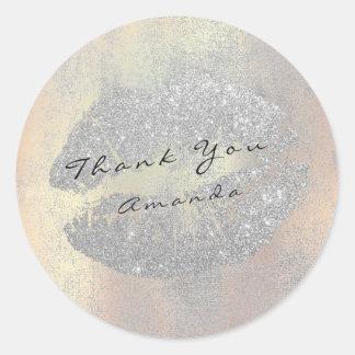 Name Branding Thank Kiss Blush Gray Glitter Makeup Classic Round Sticker
