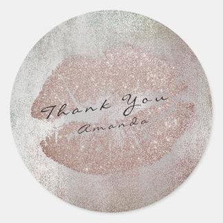 Name Branding Thank Kiss Coffe Glitter Rose Makeup Classic Round Sticker