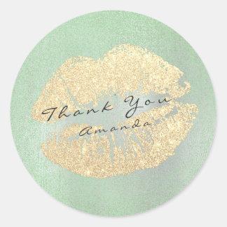Name Branding Thank Kiss Gold Glitter Mint  Makeup Round Sticker