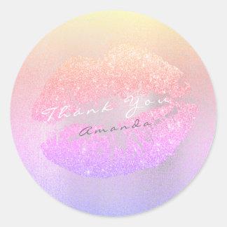 Name Branding Thank Kiss Gold Glitter Ombre Makeup Classic Round Sticker