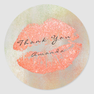 Name Branding Thank Kiss Peach Glitter Rose Makeup Classic Round Sticker