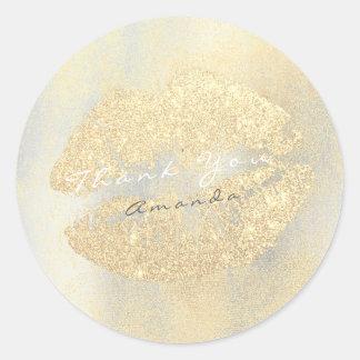 Name Branding Thank Lips Kiss Gold Glitter Makeup Classic Round Sticker