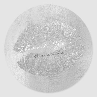 Name Branding Thank Lips Kiss Silver Gray Makeup Classic Round Sticker