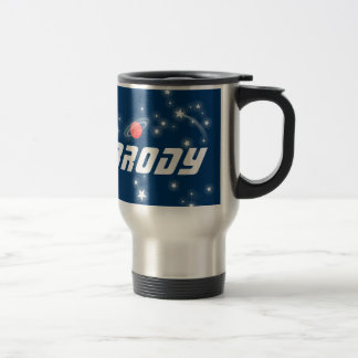 Name Brody space navy blue rocket kids mug