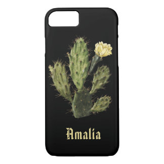Name Cactus Flower Vintage Black iPhone 8/7 Case