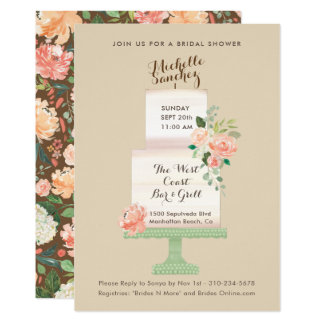 Name Cake Topper Watercolor Floral Bridal Shower Card