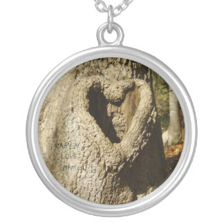 Name Carved Heart Tree Necklace