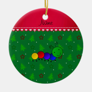 Name caterpillar green christmas trees stars ceramic ornament