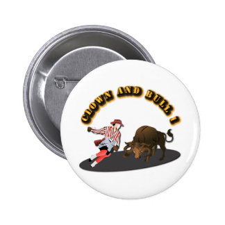 NAME: Clown and Bull 1-With-Text 2 Inch Round Button