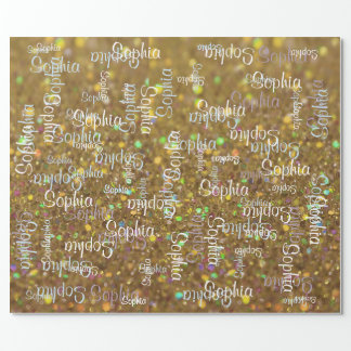 Name Collage Gift Template Wrapping Paper