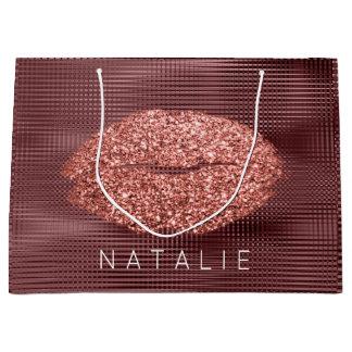 Name Copper Grill Metallic Kiss Lip Glitter Bronze Large Gift Bag