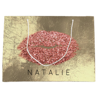 Name Copper Metal Kiss Lips Glitter Champagne Gold Large Gift Bag