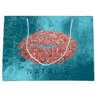 Name Copper Metal Ocean Kiss Lips Glitter Bronze Large Gift Bag