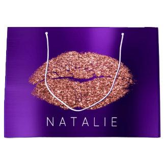 Name Copper Violet Plum Kiss Lip Glitter Pupple Large Gift Bag