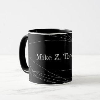 name + curved thin lines on modern black mug