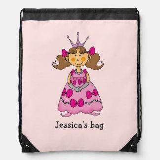 Name customized little princess (brown hair) drawstring bag