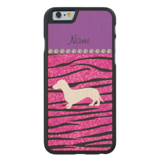 Name dachshund neon hot pink glitter zebra stripes carved maple iPhone 6 case