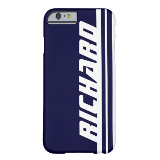 Name dark blue & white stripe sport iPhone 6 case Barely There iPhone 6 Case