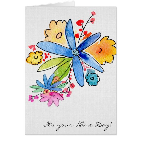 Name Day-watercolor flower bouquet Card