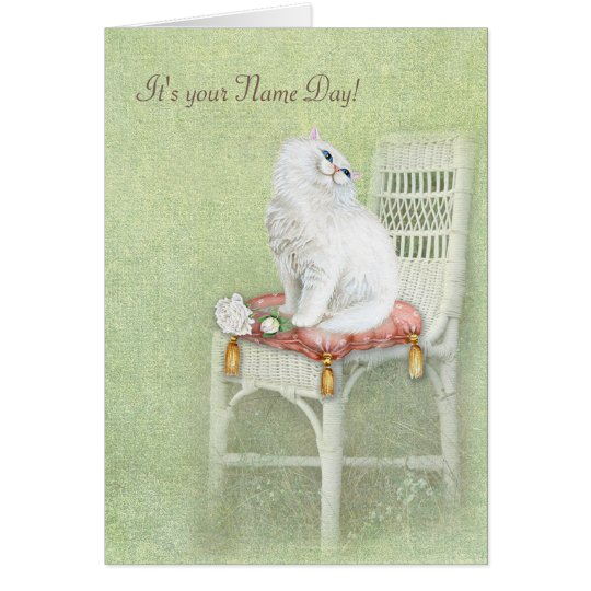Name Day-white cat and roses on pillow Card
