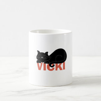 Name design with cat element coffee mug