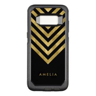 Name Elegant Black Geometric Chevron OtterBox Commuter Samsung Galaxy S8 Case