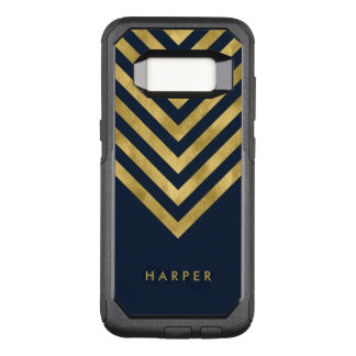 Name Elegant Blue Geometric Chevron OtterBox Commuter Samsung Galaxy S8 Case