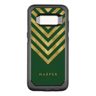 Name Elegant Green Geometric Chevron OtterBox Commuter Samsung Galaxy S8 Case