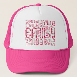 Name Emily Cute Typography Love Hearts Trucker Hat