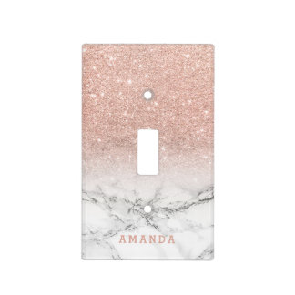 Name faux rose pink glitter ombre white marble light switch cover