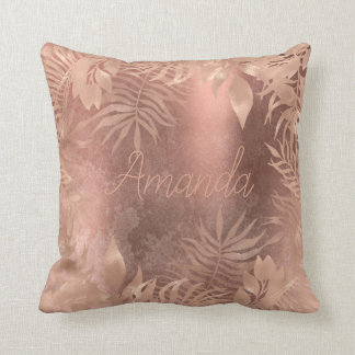 Name Floral Pink Rose Gold Tropical Copper Grungy Throw Pillow