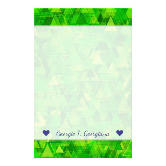 """Name + """"Forest"""" of Green Triangle Shapes Pattern Stationery"""
