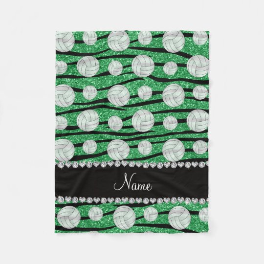 Name green glitter zebra stripes volleyballs fleece blanket