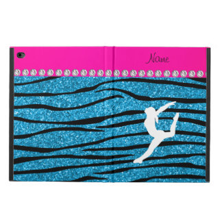 Name gymnast sky blue glitter zebra stripes