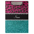 Name hot pink glitter leopard turquoise glitter clipboard