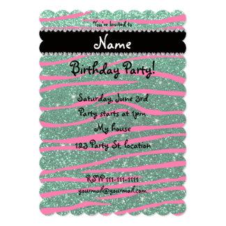 Name hot pink zebra stripes mint green glitter announcement cards