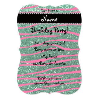 Name hot pink zebra stripes mint green glitter personalized invitation cards
