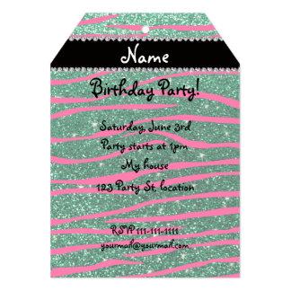 Name hot pink zebra stripes mint green glitter personalized invitation